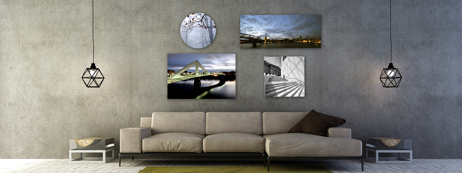 Various photo products on wall