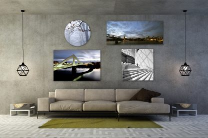 Large photo product samples on wall