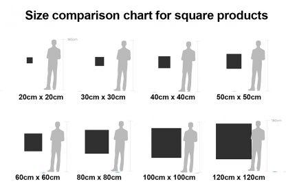 Square Product Size Comparison Chart